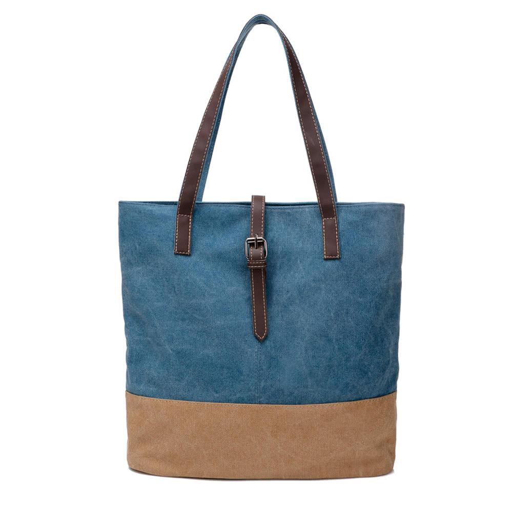 2dc7b2824cdd8 النساء قماش حقيبة التباين الربط سستة متعددة جيب سعة كبيرة عارضة محمول حقيبة  الكتف حمل حقيبة بلاو - Tomtop.com