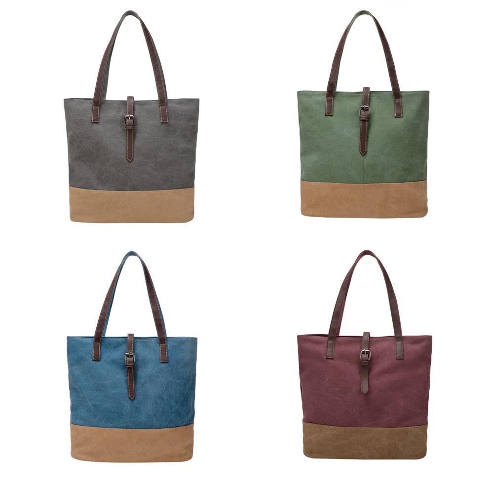 15f728bb10e07 النساء قماش حقيبة التباين الربط سستة متعددة جيب سعة كبيرة عارضة محمول حقيبة  الكتف حمل حقيبة
