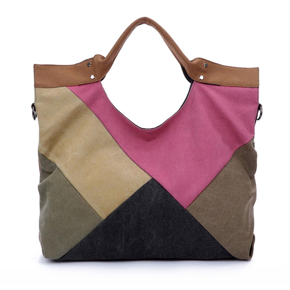 Women Canvas Crossbody Bag Handbag Geometric Contrast Splicing Large Female Shoulder Capacity Travel Tote Rose Online Shopping Tomtop