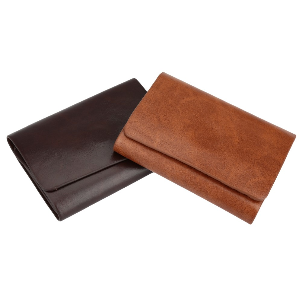 Men Money Clip Wallet Genuine Leather Short Card Holder Trifold Magnet Business Mini Wallet Coffee/Brown brown Online Shopping | Tomtop