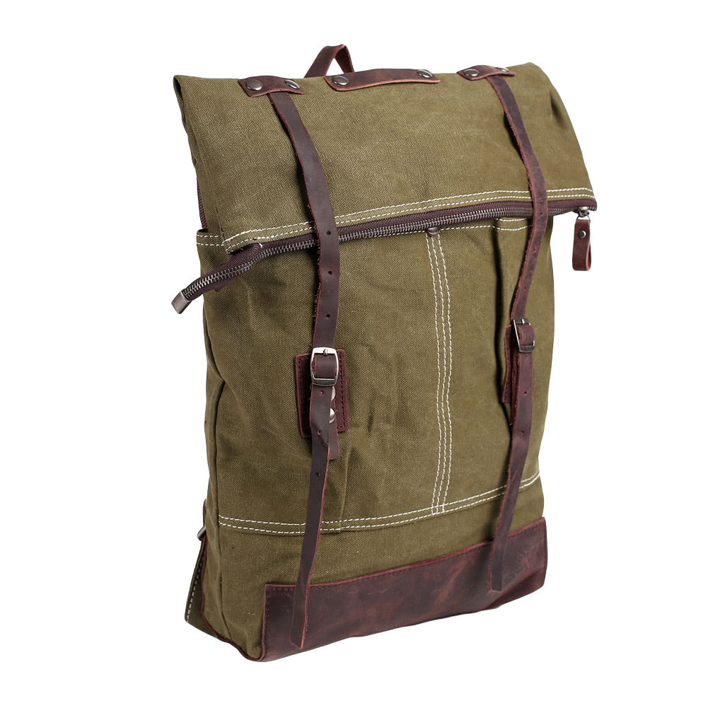 9fa82878c90f Vintage Women Men Canvas Backpack Crazy Horse Leather Large Capacity Retro  Satchel School Bag Travel Rucksack