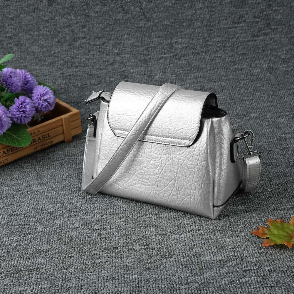 Frauen kleine Crossbody PU Leder Messenger Tasche aus PVC für Damen Volltonfarbe weiblichen Handtasche schwarzgrausilber (20 cm <longitud máxima <30