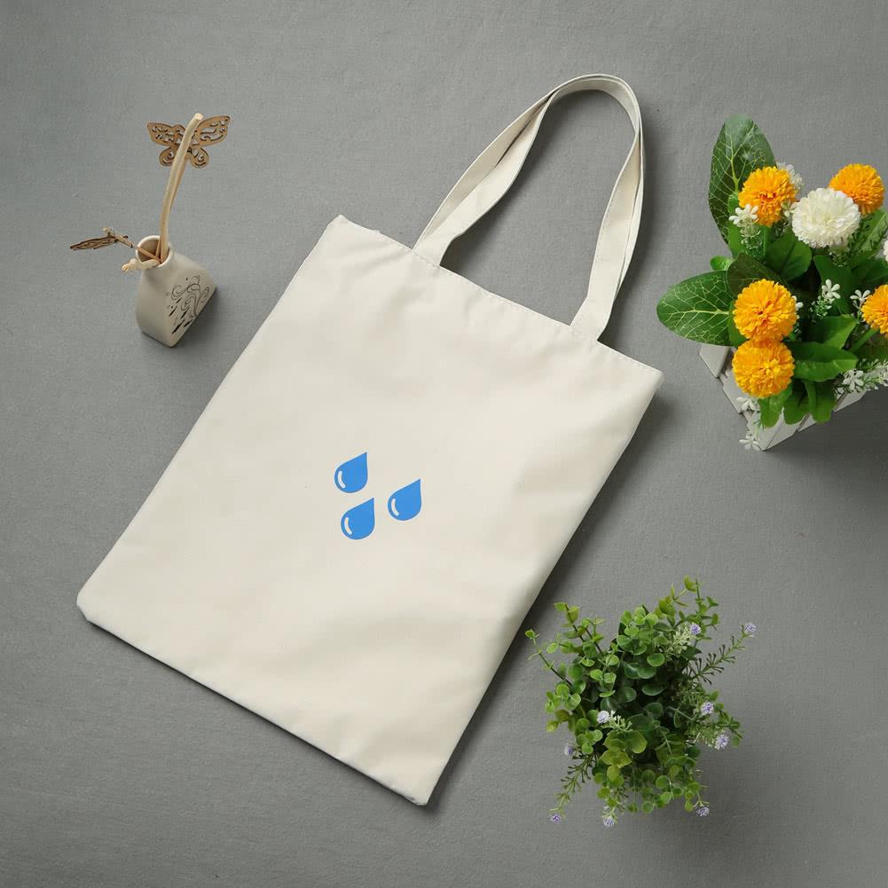 Women Shopping Shoulder Bag Foldable Eco Reusable Print Zipper Pocket Large Capacity Tote Handbag White/Dark Blue white Online Shopping | Tomtop