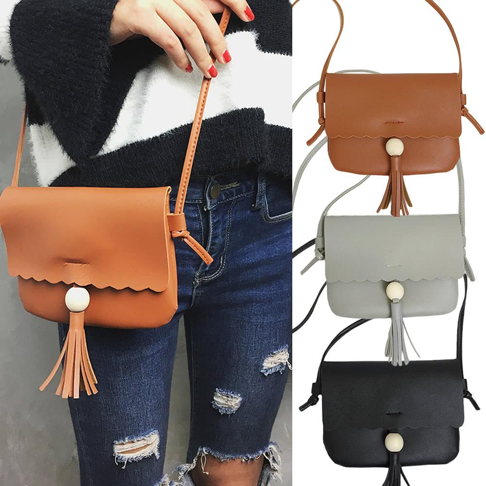 432225b307bb Cute Women Girls Mini Shoulder Bag PU Leather Bead Fringed Tassels Small  Crossbody Bag Grey Brown Black gray Online Shopping
