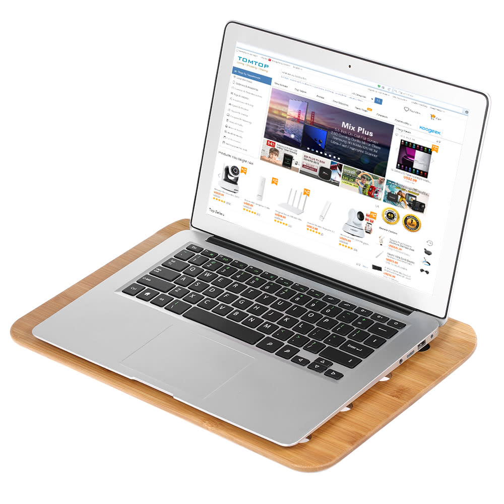 Samdi Bamboo Laptop Tray Lap Desk Universal Cooling Stand Desktop Reading Board Air Ventilation For Notebook S Tomtop