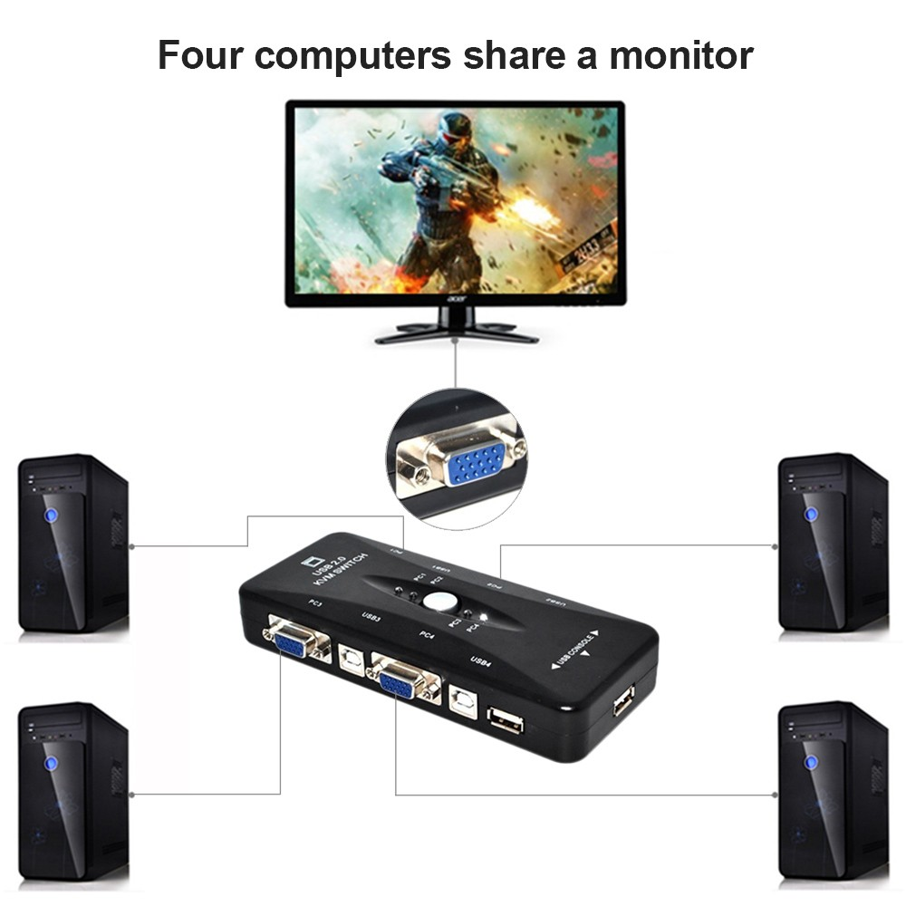 4 Port USB 2.0 KVM VGA Switch Box Adapter 1920*1440 Plug and Play for PC Keyboard Mouse Monitor Black