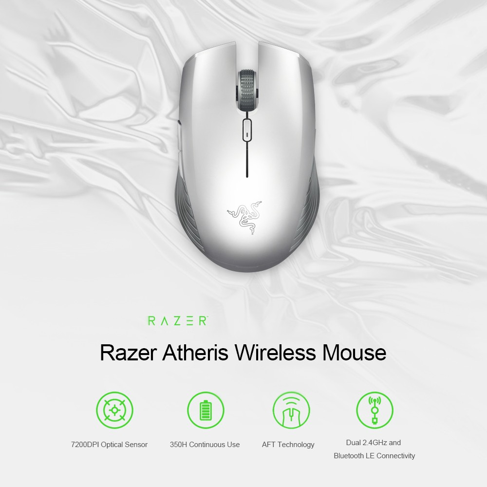Razer Atheris Bluetooth Wireless Gaming Mouse Ambidextrous Portable Gaming  Mice 7200 DPI Optical Sensor 2 4 GHz for Work and Play Silver