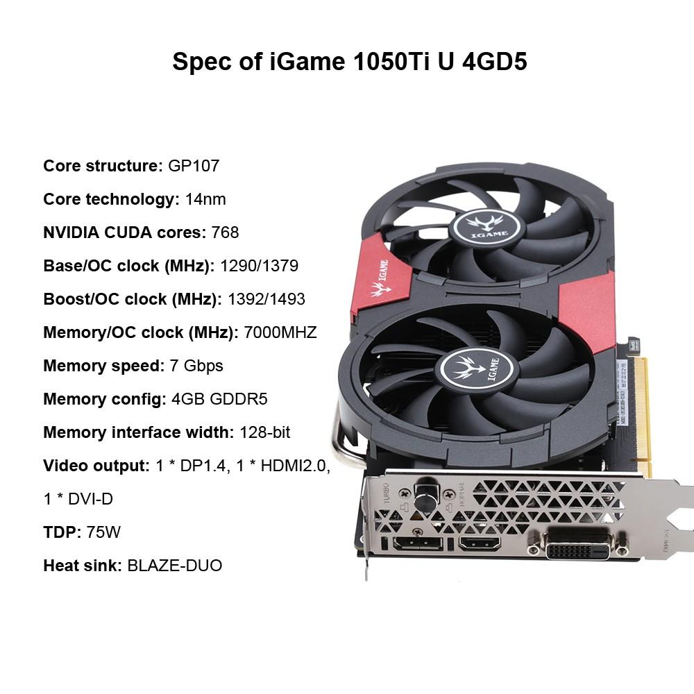 Colorful NVIDIA GeForce GTX iGame 1050Ti GPU 4GB 128bit Gaming 4096M GDDR5  Video Graphics Card