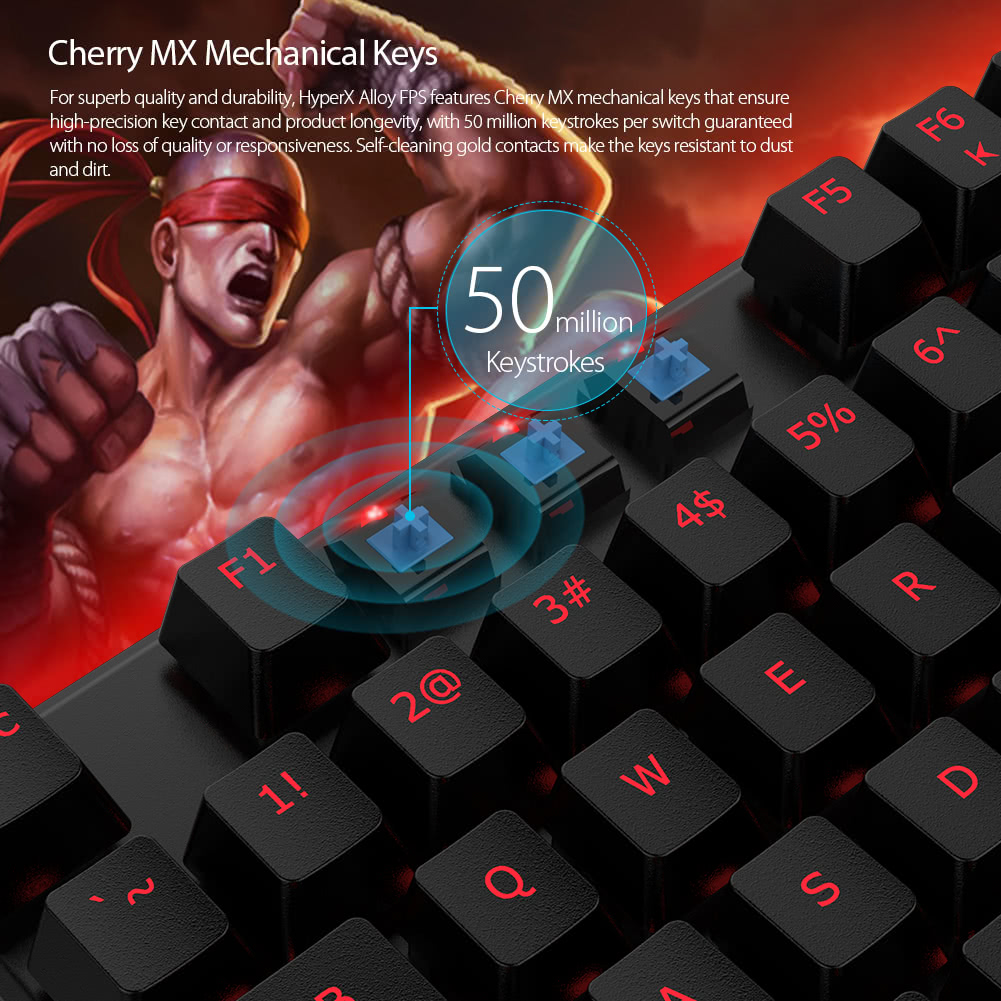 c73a2ed9bda Kingston HyperX Alloy FPS Mechanical Gaming Keyboard Cherry MX Blue Switches  Anti-ghosting 104 Keys Red LED Backlit Backlight USB Wired HX-KB1BL1-NA/A3