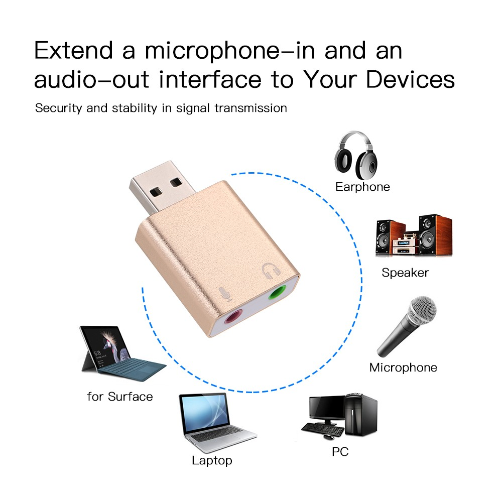 Aluminum alloy USB External Stereo Sound Adapter USB Audio Sound Card  Virtual 7 1 Microphone Converter with 3 5mm Jack for Mac OSX Win 7/8 Android