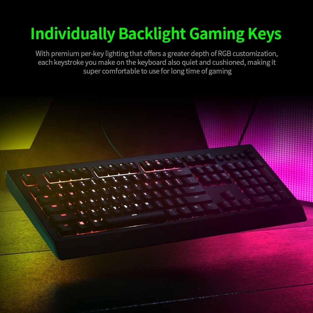 UK-Layout Razer Cynosa V2 Tastatur mit weichen federbelasteten Tasten, Medientasten, Kabelmanagement, voll programmierbar, RGB-Chroma-Beleuchtung Membran Gaming-Tastatur