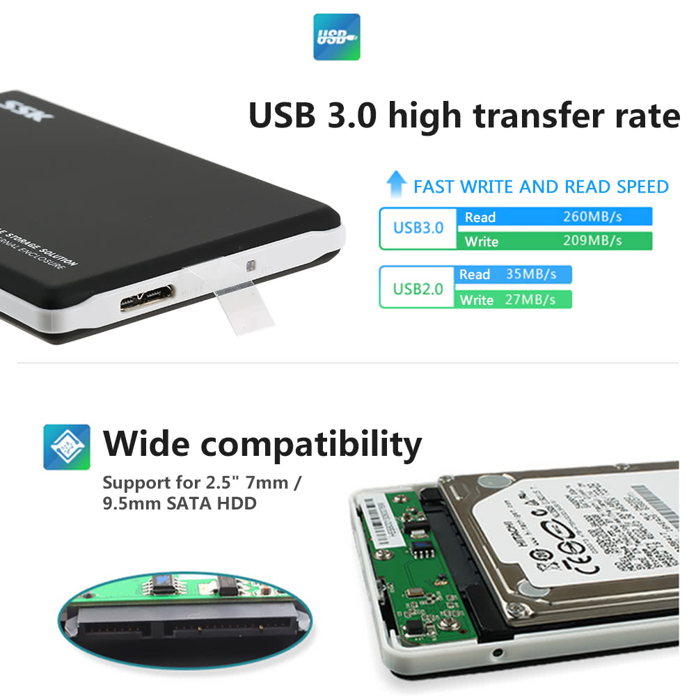 Ssk 25 High Speed Usb 30 Sata External Hard Drive Enclosure Hdd Casing Hardisk 35 Ide M Tech 20 Case 95mm 7mm For Pc Notebook