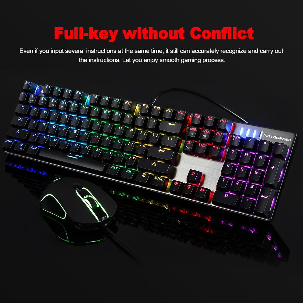 e48fd533054 MOTOSPEED CK888 Mechanical Gaming Backlight Keyboard Mouse Combo Blue  Switches 9 LED Lighting Modes FN Compound Key for PC Laptop Desktop Sales  Online - ...