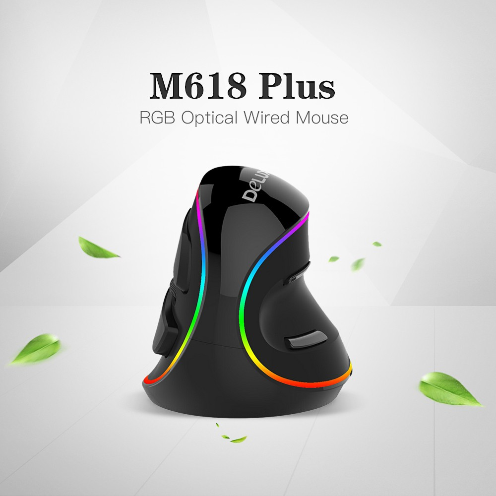 Delux M618 Plus RGB Optical Wired Ergonomic Mouse With 6 Buttons For PC Laptop Desktop