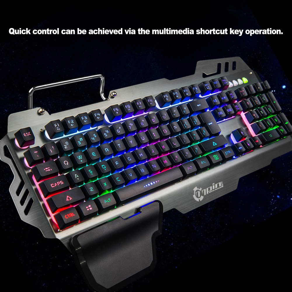 74edad3b1c6 7pin PK-900 Gaming Keyboard RGB Backlight Computer Keyboard with Mobile  Phone Holder Wrist Rest Silver