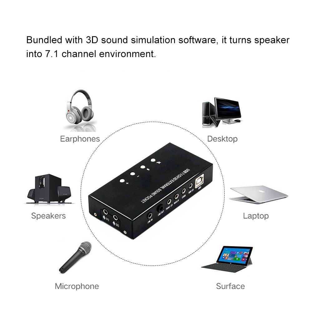 Usb Sound Card External Stereo 71 Channel 3d 35mm Aux Out Plug And Play For Windows 8 7 Xp Vista Black