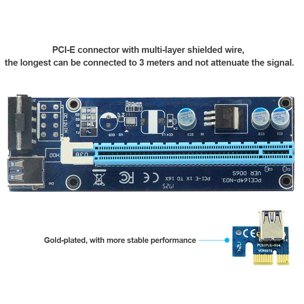 Ver006s 06m Pcie Pci E 1x To 16x Riser Card With Usb 30 Data Cable Sata Signal And Power Molex Adapter One Combo Connect 4pin Cord For Btc Ltc Mining