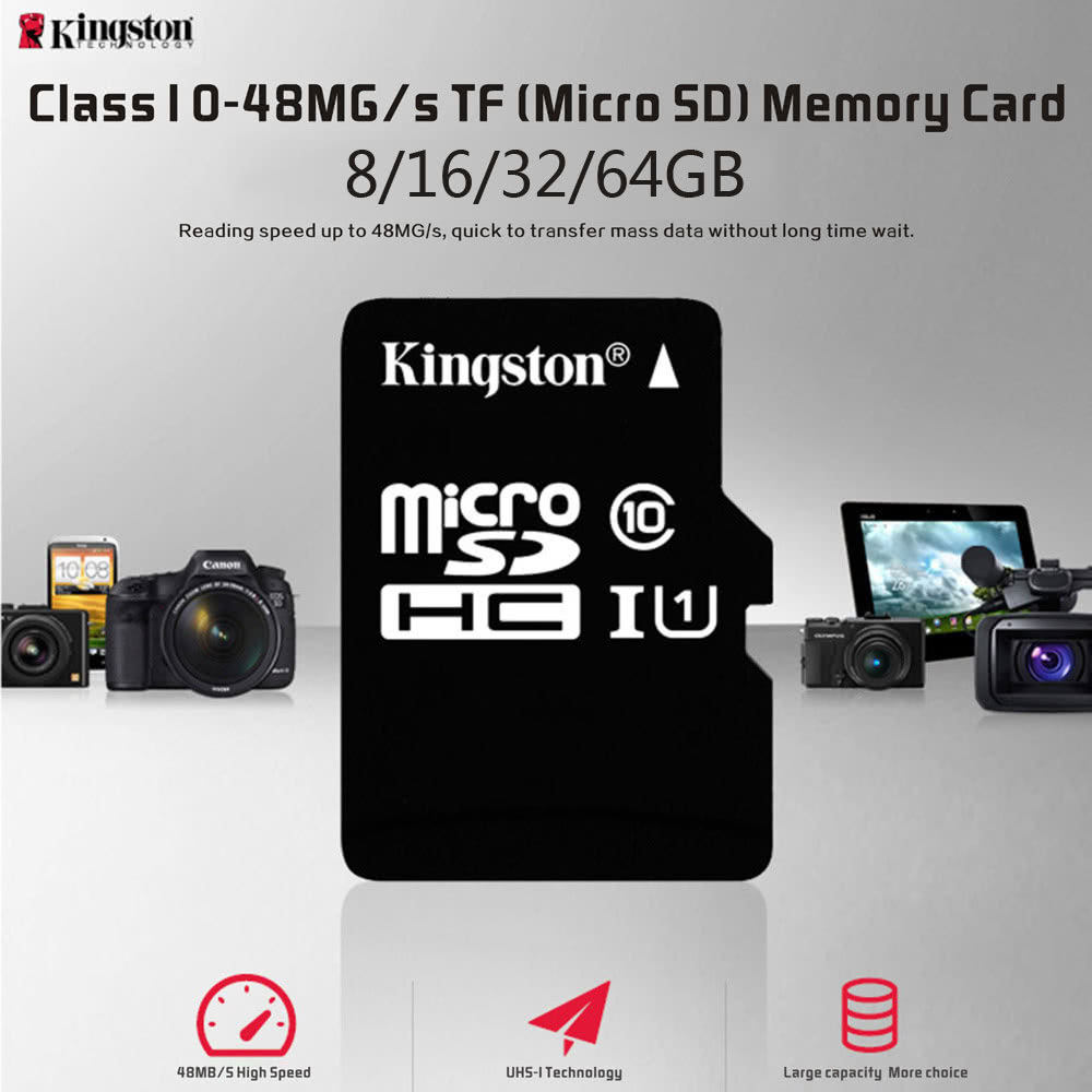 Kingston Class 10 8GB 16GB 32GB 64GB MicroSD TF Flash Memory Card 48MB/s Maximal Speed with Card Adapter Sales Online 64g - Tomtop