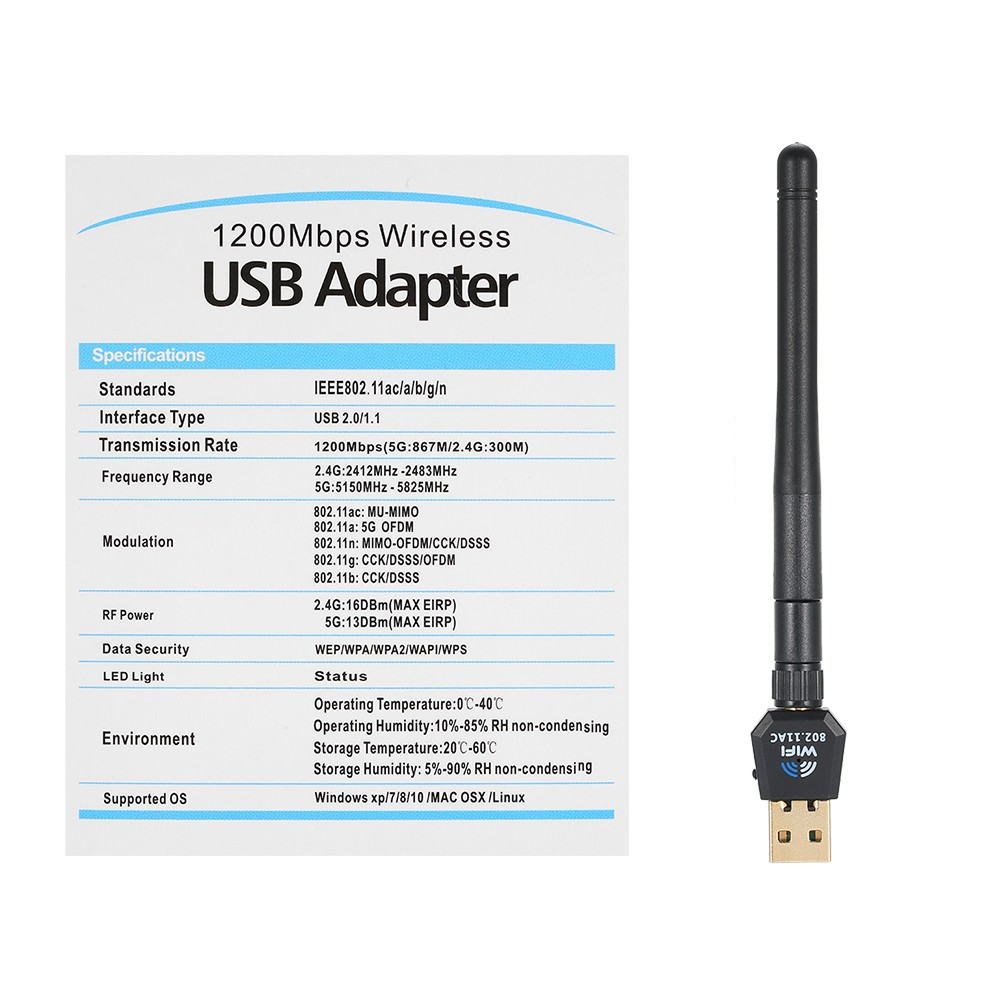 1200Mbps USB Wifi Adapter USB Wireless Adapter Daul Band  (2 4G/300M+5G/867M) 802 11 ac for Desktop PC for WinXP/Vista/7/8/8 1/10 for  Linux for MAC