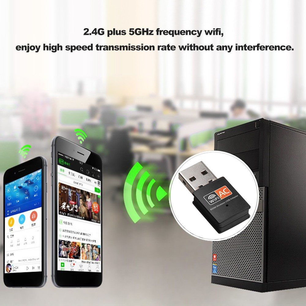 Dual Band 600Mbps 2 4GHz +5GHz USB Wireless Adapter Wifi Antenna  802 11a/b/g/n/ac WiFi USB Adapter for MAC Windows Black Sales Online -  Tomtop