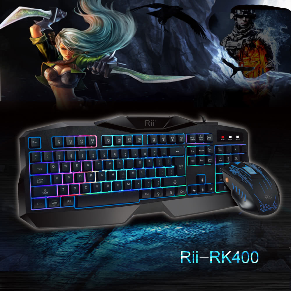 Rii Rk400 Ergonomic Led Illuminated Backlit Usb Wired Professional 1 Set Pc Gaming Esport Keyboard And Mouse Combo Bundle