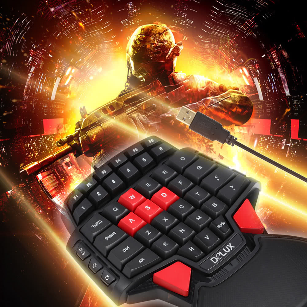 c047c6acf4b Delux T9 47-Key Professional One/Single Hand USB Wired Esport Gaming  Keyboard with 3-level LED Backlit Illuminated Backlight