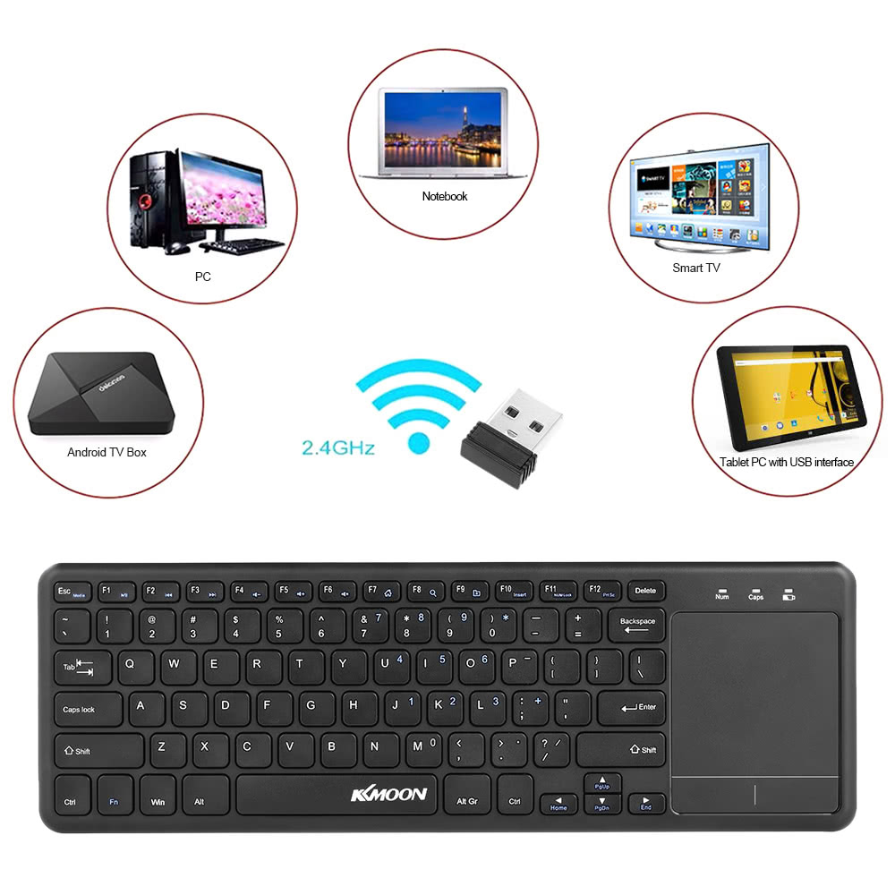KKmoon 2.4GHz Wireless Touch Keyboard with Multi-touch Touchpad for Android TV BOX Notebook Laptop Smart TV