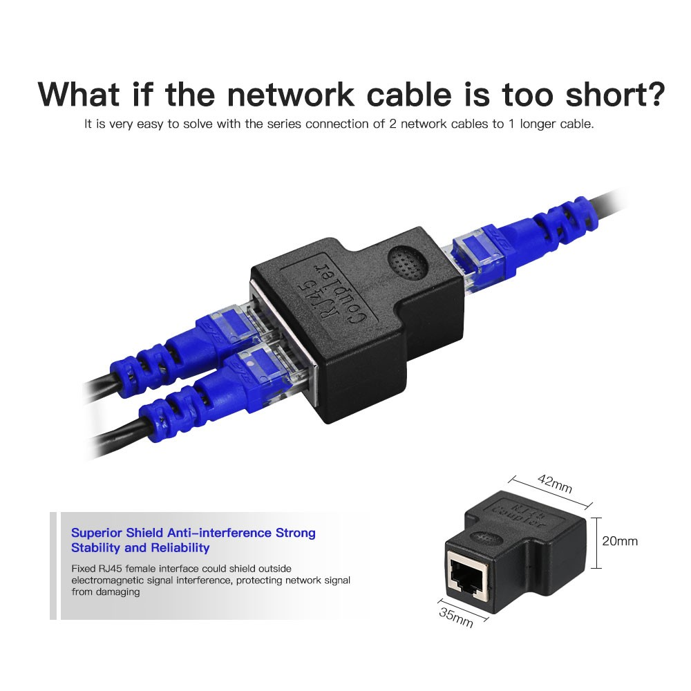 RJ45 Splitter Adapter Connector 1 to 2 Female Ports for CAT 5/CAT 6 ...