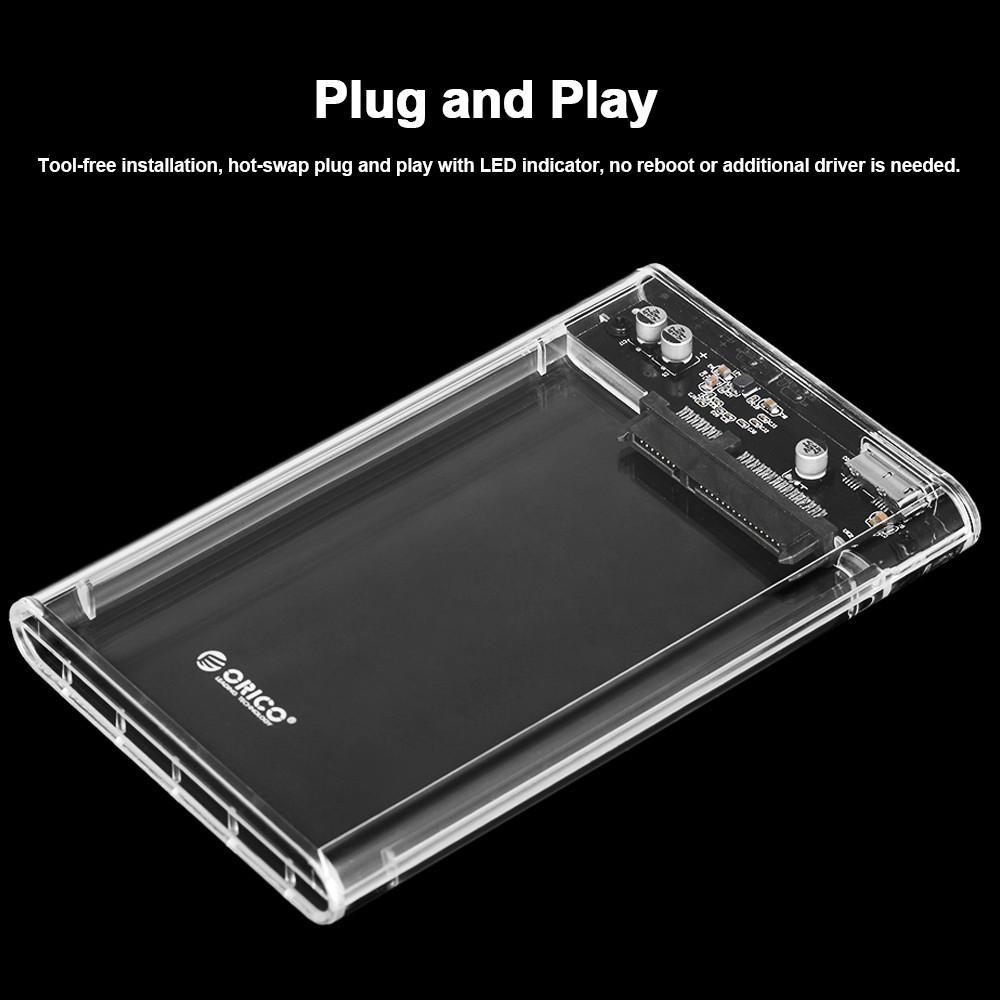 Orico 2139u3 Cr Usb 30 Transparent External Hard Drive Enclosure New Arrival 1 Bay 25 Inch Hdd Sata 2 Sales Online Tomtop