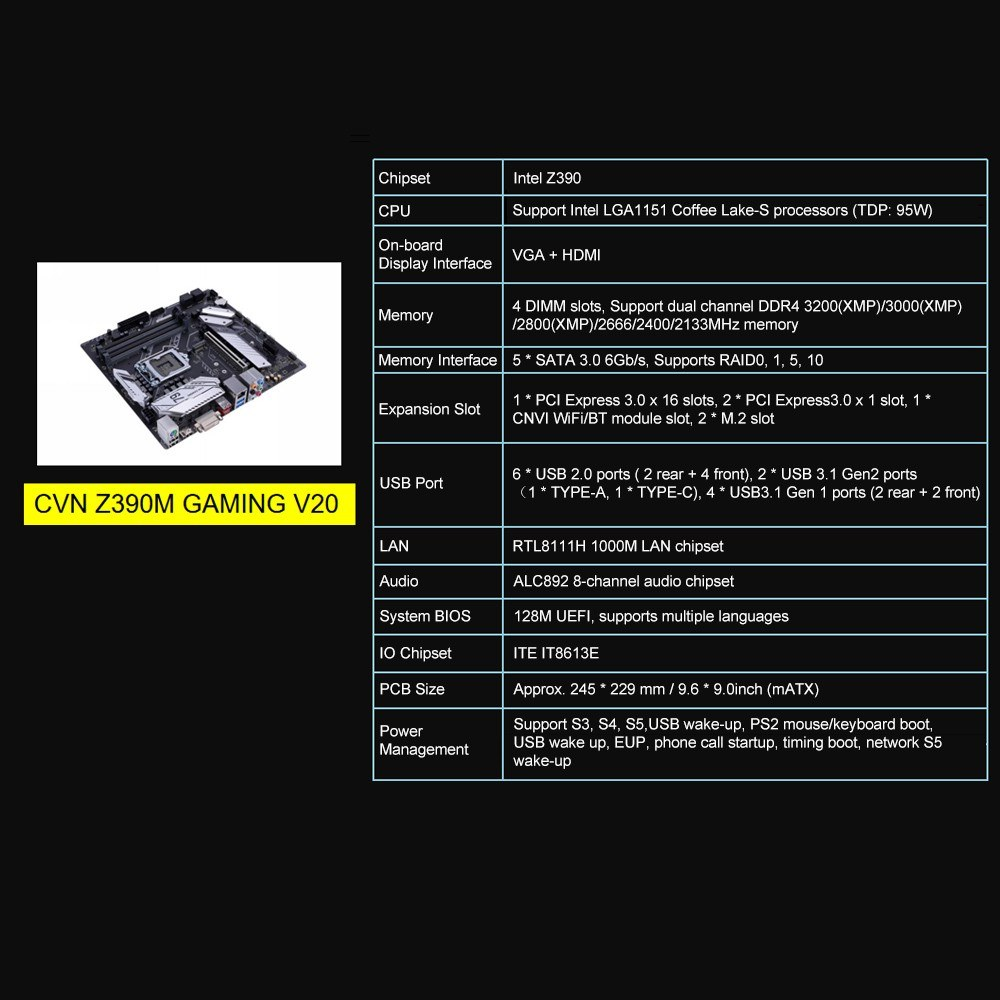 Colorful CVN Z390M GAMING V20 Gaming Motherboard Mainboard Systemboard  Intel LGA 1151 port Coffee Lake-S DDR4 Processor DVI + HDMI mATX PCI-E 3 0
