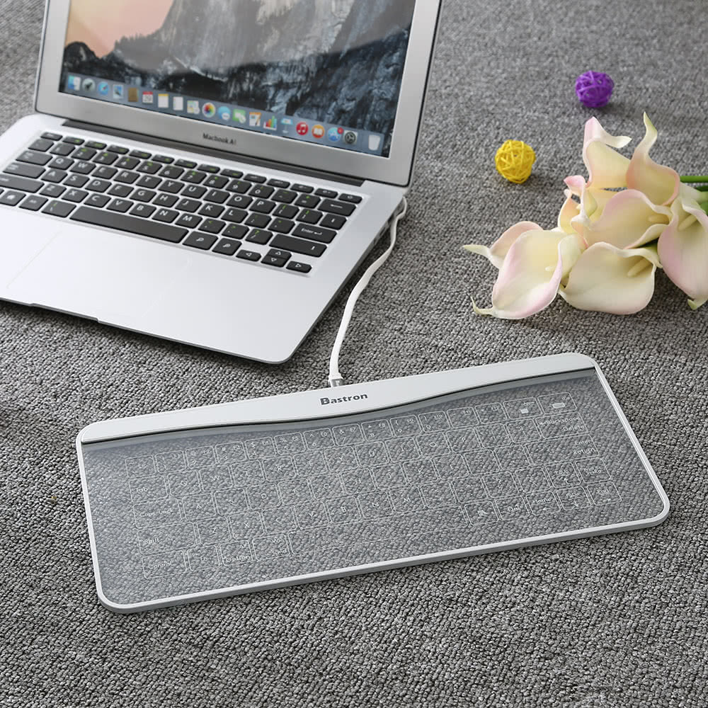 Best Bastron Ultra Thin Splash Resistant Tempered Glass Usb Wired Laptop Touch Keyboard