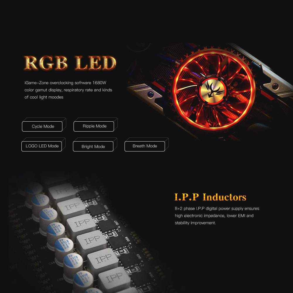 Colorful iGameGTX1080 X-TOP-8G Advanced Video Graphics Card 1759-1898MHz  8GB/256Bit GDDR5X PCI-E 3 0 3*DP+HDMI+DVI