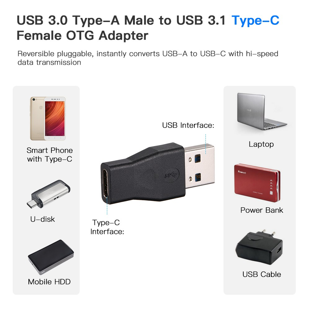 USB 3 1 Type C Adapter USB 3 0 Male to USB-C Female OTG Converter for  Macbook for Xiaomi Mi5 Mi6 for Samsung Galaxy S8 Plus for Huawei