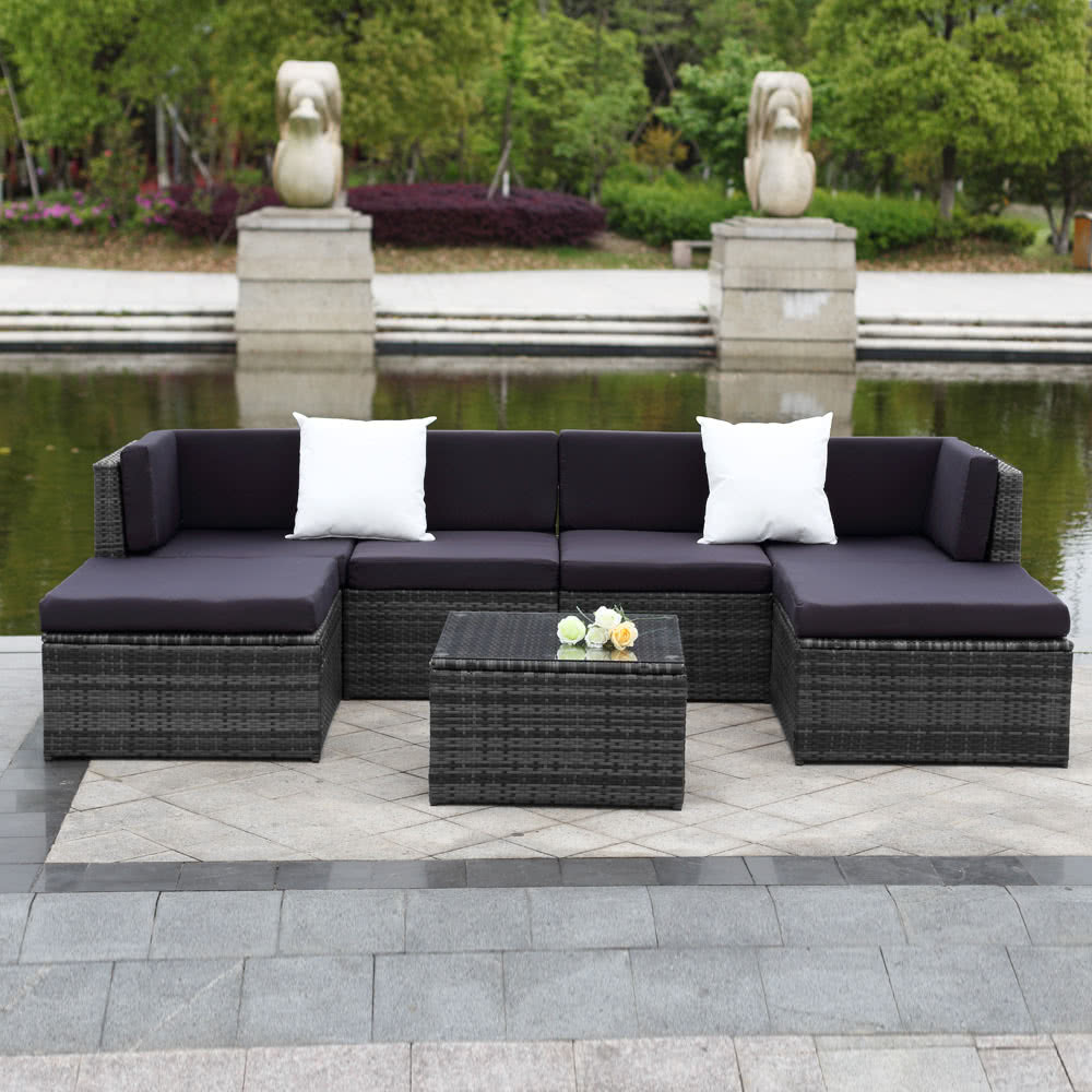 IKayaa 7PCS Cushioned Outdoor Patio Garden Furniture Sofa Set Ottoman Corner  Couch Sectional Furniture Rattan Wicker Sales Online Camel   Tomtop