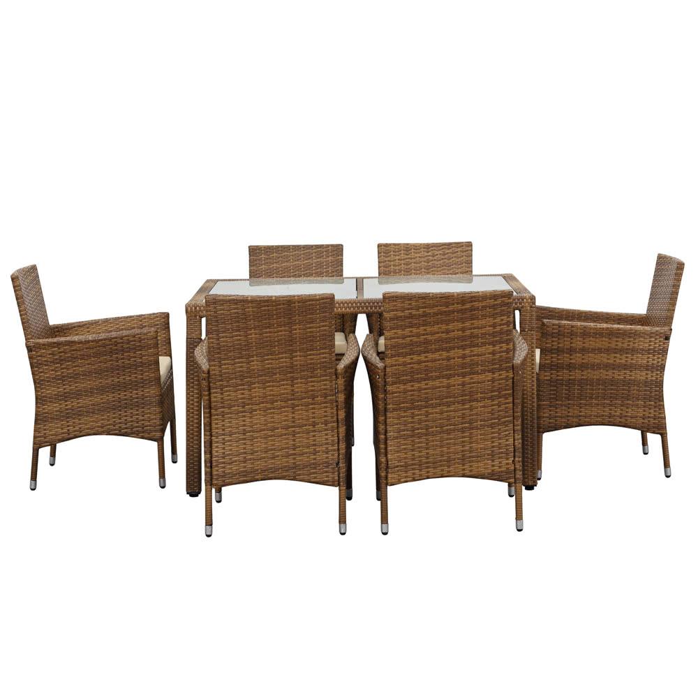 Ikayaa 7pcs juego de mesas de comedor para patio exterior for Comprar muebles exterior