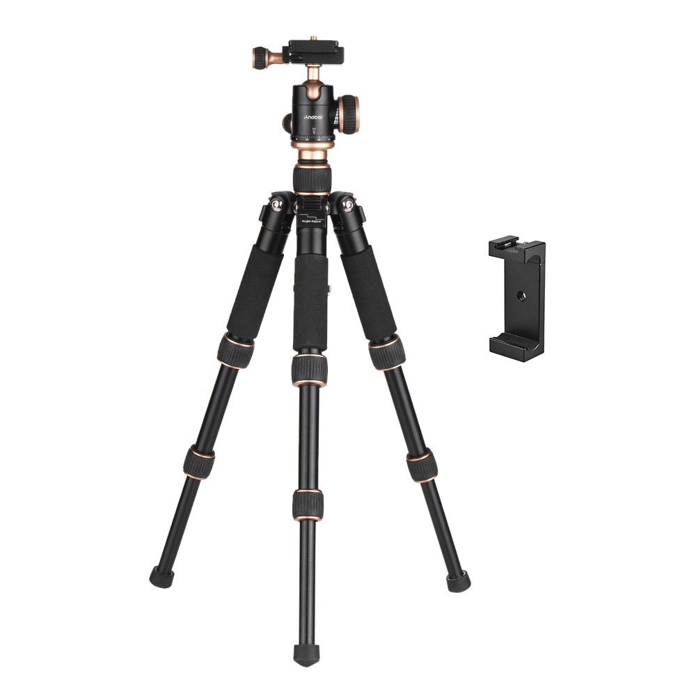"""Andoer 53cm/21"""" Travel Portable Mini Tabletop Tripod with Phone Tripod Mount + Ball Head Quick Release Plate Sales Online black - Tomtop"""