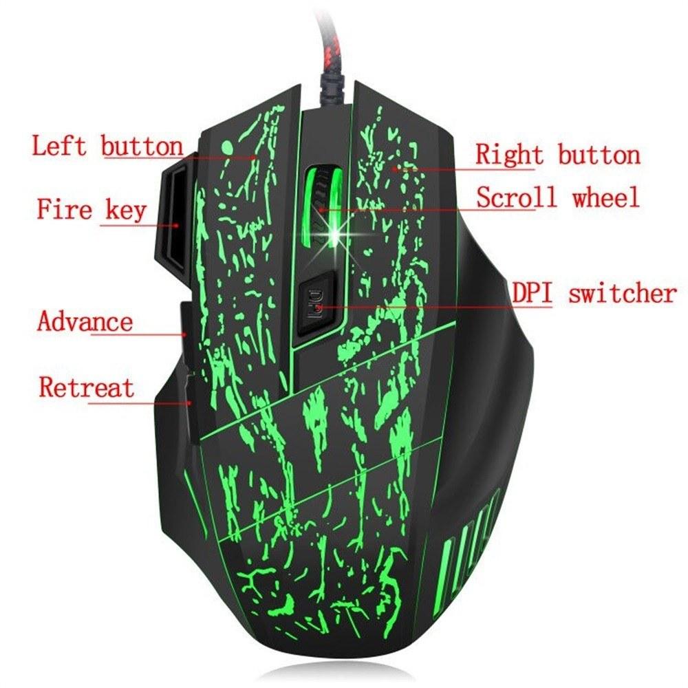 J60 Gaming Keyboard Mouse Combo Anti-ghosting Adjustable DPI Colorful  Backlit