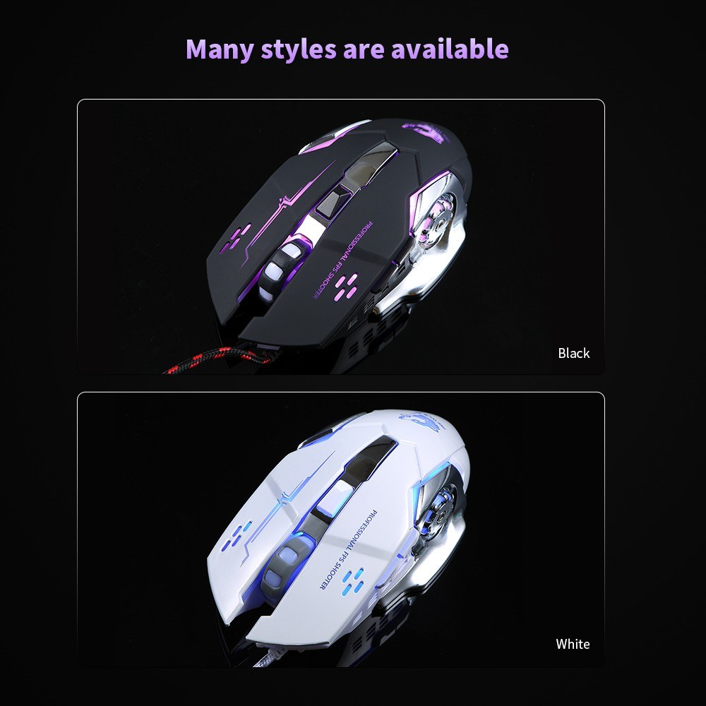 Free Wolf Wired Gaming Mouse Professional FPS Mouse with 4000DPI Silent  Click RGB Light Sales Online black - Tomtop