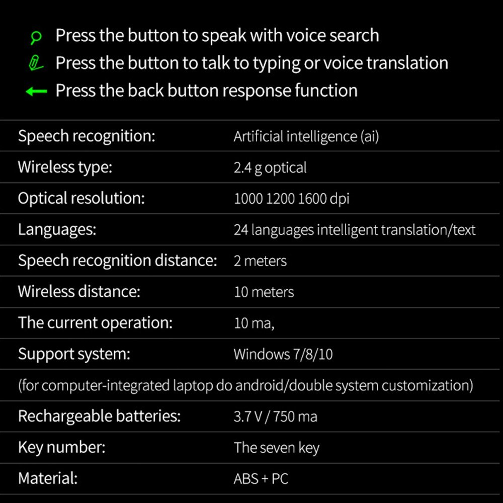 JSF Wireless Voice Mouse Intelligent AI Voice Control Mouse Typing  Searching Translation Sales Online black - Tomtop