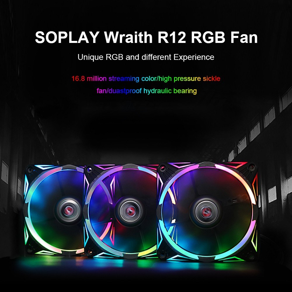 SOPLAY RGB 12CM Radiator PC Case Fan Cooler Backward Airflow with 4PIN  Interface Hydraulic Bearing