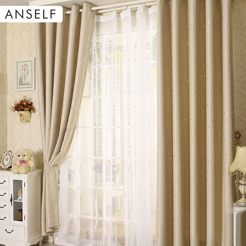 anself 2pcs 100 250cm modern punching grommet blackout. Black Bedroom Furniture Sets. Home Design Ideas