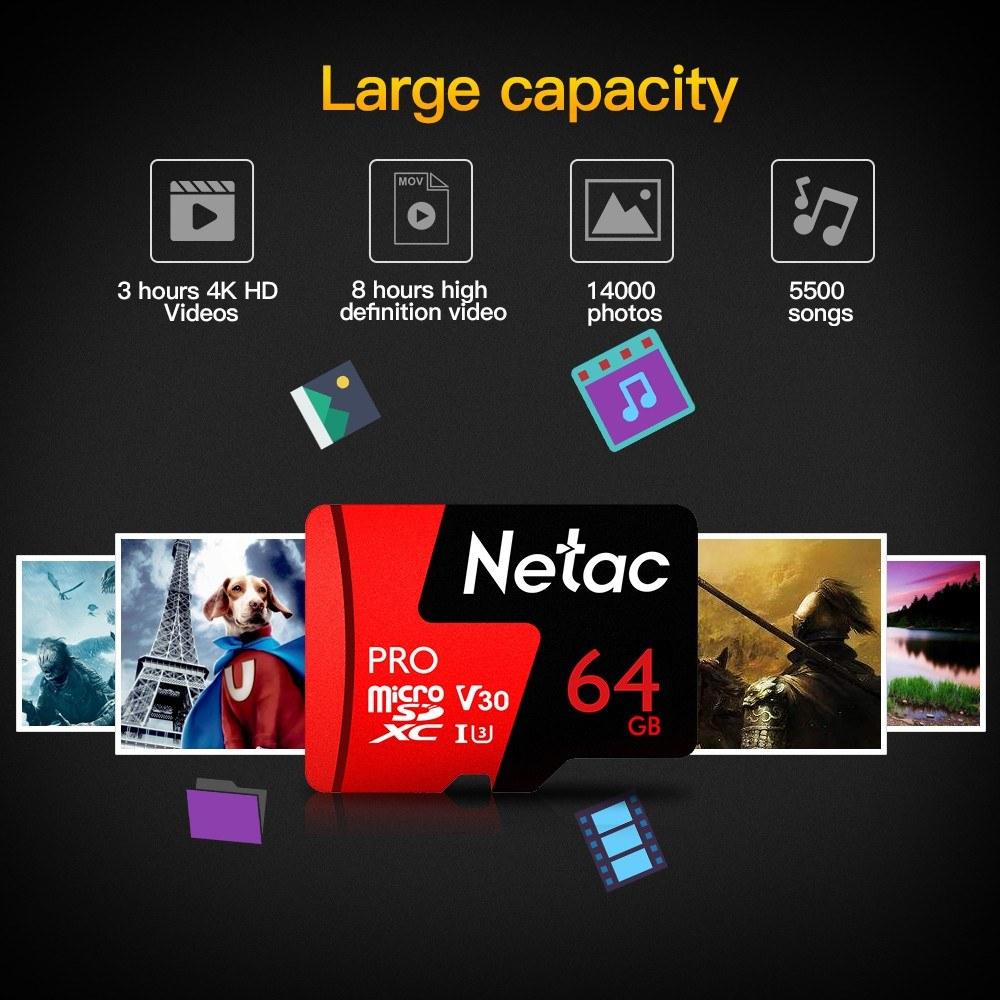 Best Netac 64gb Pro Micro Sdxc Tf Memory Card Data Storage V30 Uhs I Team Xtreem Sd U3 90mb S High Speed Up To 98mb