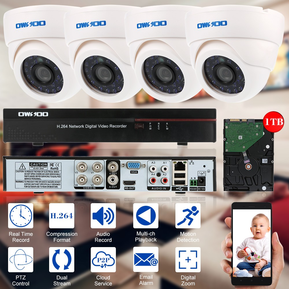 Owsoo 4ch Channel Cctv Surveillance Dvr Security System Sales Online View Mobile With Shock Sensor And Wifi Ptz Controller Adapter 1 Remote Control 2aaa Battery Not Included 2 Uk Plug Power To 4 Split Cable Usb Mouse Bag Of Screws For Camera Installation