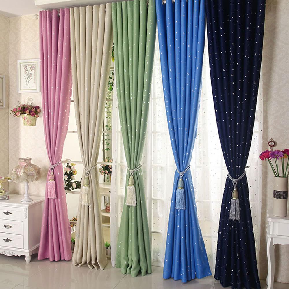selbst 2pcs 100 250cm moderne stanzt lle blackout vorhang linings panel helle farbige sterne. Black Bedroom Furniture Sets. Home Design Ideas