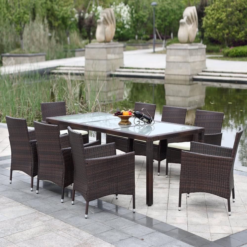 ikayaa 9pcs rattan outdoor patio dinning tisch set gepolsterte garten patio m bel set dark brown. Black Bedroom Furniture Sets. Home Design Ideas