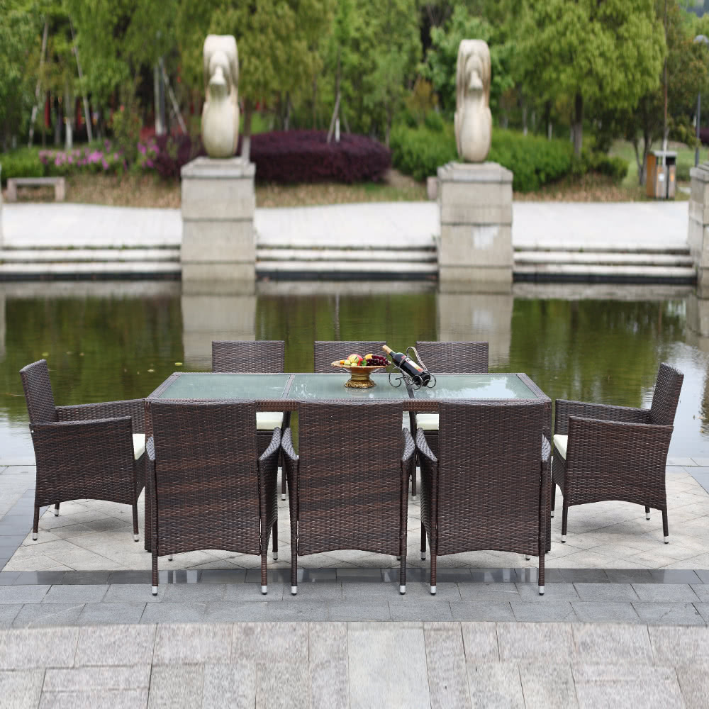 IKAYAA 9PCS Rattan Outdoor Patio Dinning Table Set Cushioned Sales Online  Brown   Tomtop