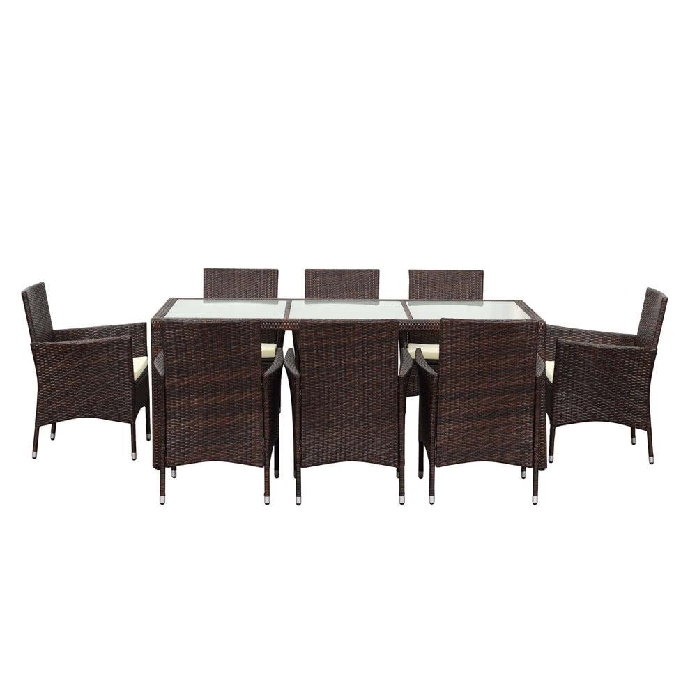 Ikayaa 9pcs rattan ensemble de table de salle manger en for Ensemble patio liquidation