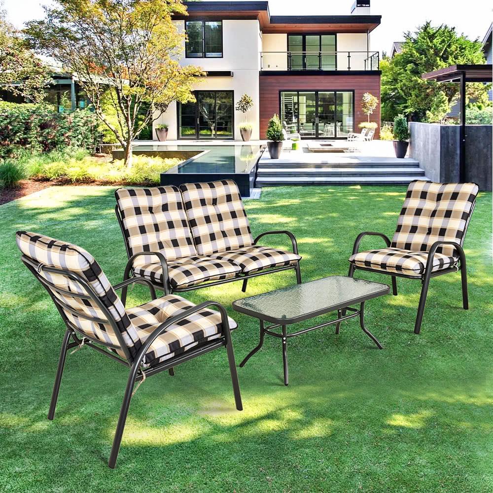 Ikayaa fashion 4 pezzi attenuato patio mobili da giardino for Layout di patio all aperto
