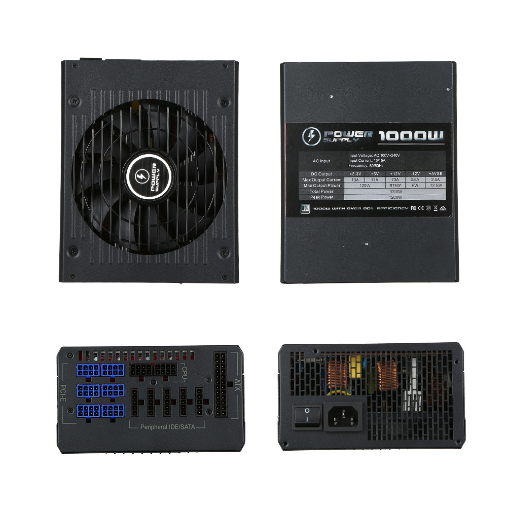 Best 1000W ATX12V V2 31 Active PFC Full Modular Computer Power eu Sale  Online Shopping | Cafago com
