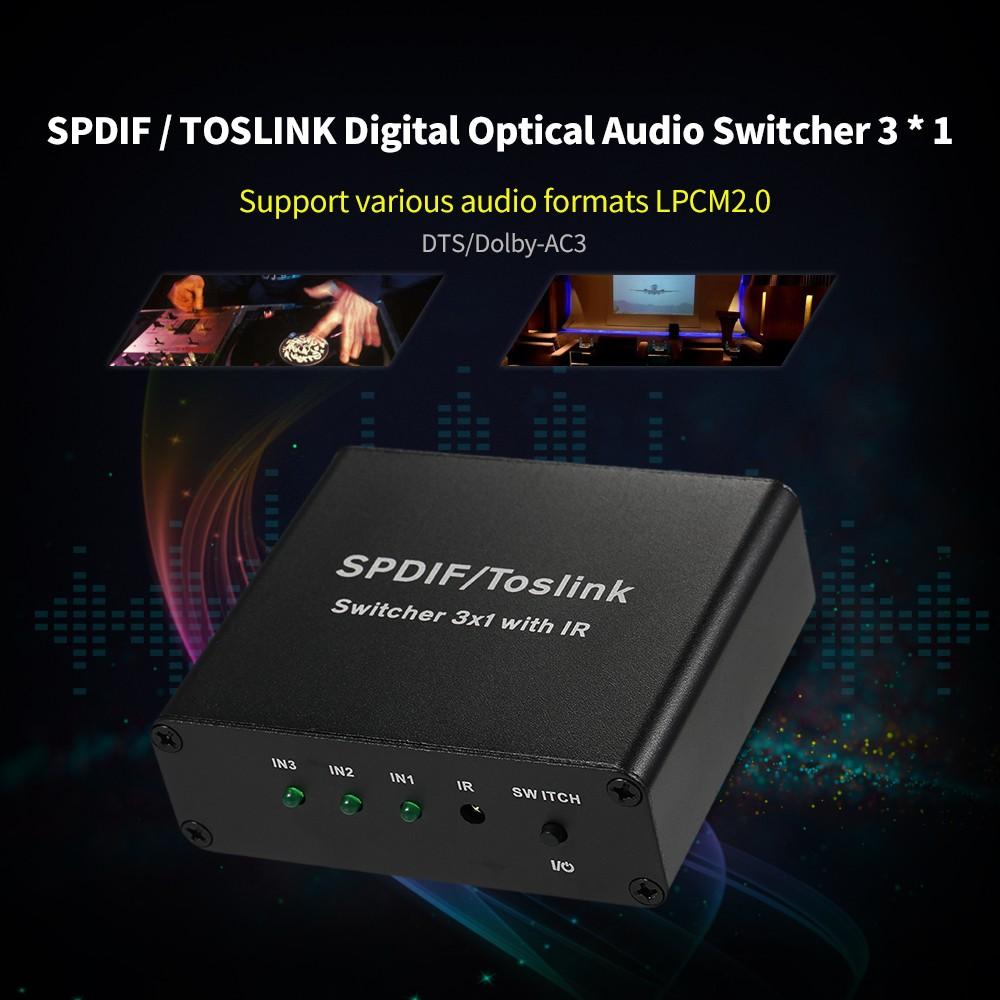 Spdif Toslink Digital Optical Audio Switcher 3 1 With Ir Three 2 Way Switch Inputs One Output Sales Online Eu Tomtop